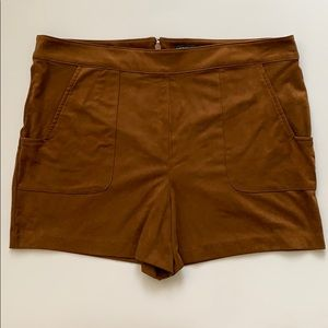 Faux suede tan leather shorts from forever21